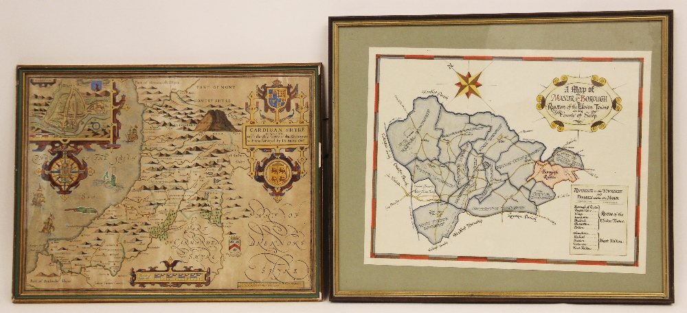 After John Speede, A hand coloured map on laid paper, 'Cardigan Shyre Described With The Due Forme