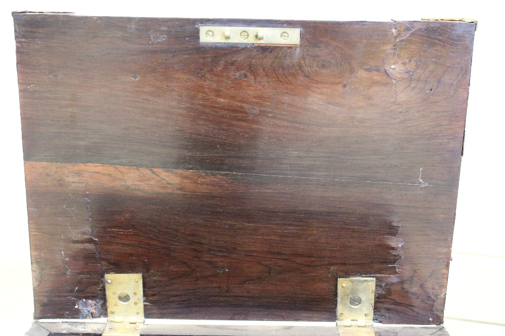 A late 17th century French kingwood strong box, applied with gilt metal corner mounts and side swing - Image 7 of 7