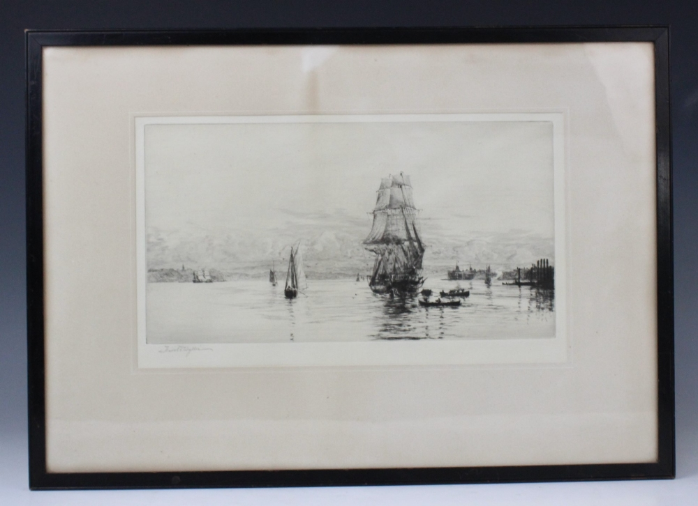 After William Lionel Wyllie RA (1851-1931), A fishing fleet at sea, Etching on paper, Signed lower - Image 2 of 5