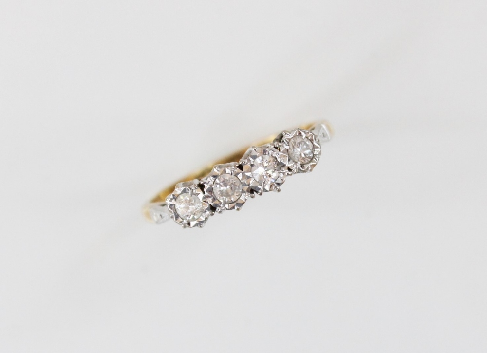 A diamond four-stone ring, comprising four round brilliant cut diamonds, (each weighing