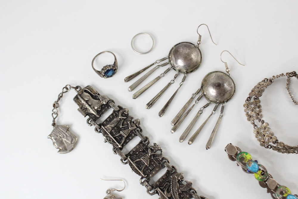 A selection of silver and white metal jewellery, to include an Arts & Crafts enamel bracelet by - Image 5 of 5