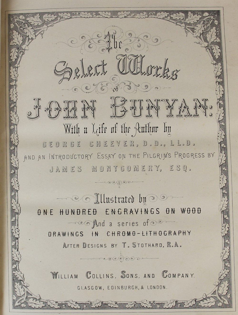 Bunyan (J), THE SELECT WORKS OF JOHN BUNYAN: WITH A LIFE OF THE AUTHOR BY GEORGE CHEEVER, first - Image 4 of 9