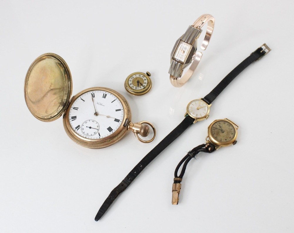 A Waltham gold-plated full hunter pocket watch, the white dial with roman numerals and subsidiary
