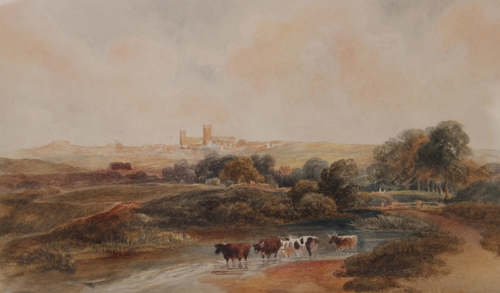 Follower of Peter De Wint (1784-1849), 'Near Lincoln', Watercolour on paper, Unsigned, 27cm x 43. - Image 5 of 9