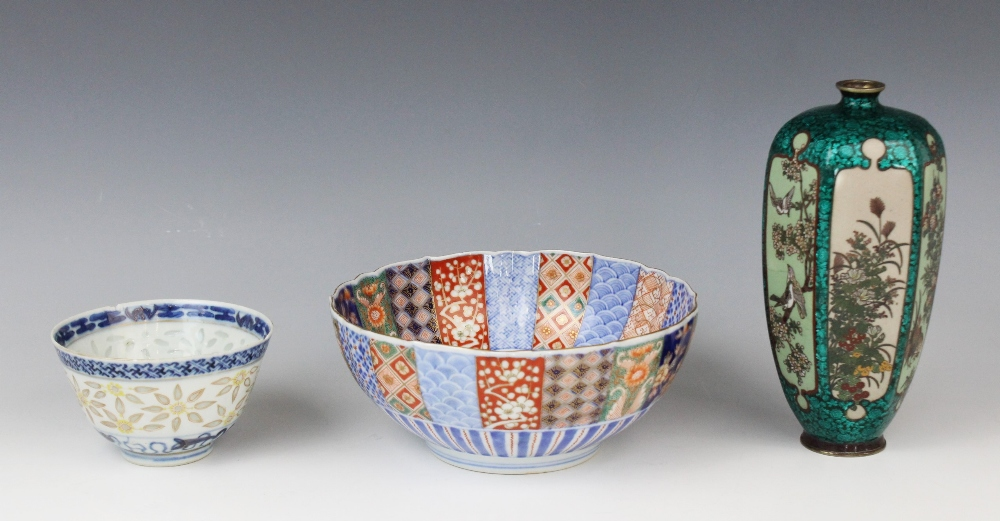 A selection of Asian works of art, 19th century and later, comprising; a Japanese cloisonné and - Image 2 of 3