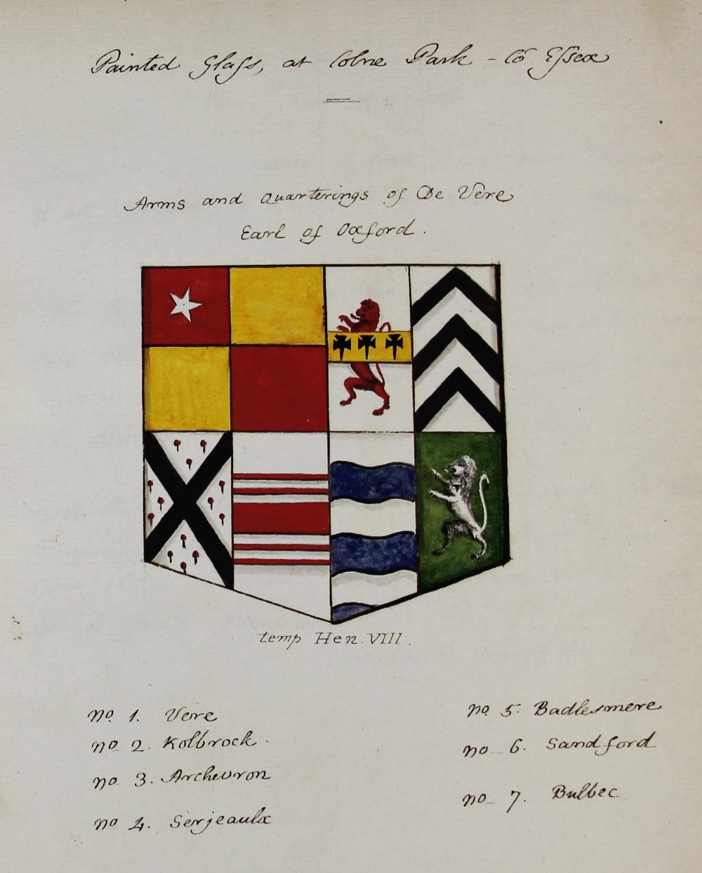 A COLLECTION OF DRAWINGS OF ARMORIAL BEARINGS, FROM PAINTED GLASS, ANCIENT SEALS ETC TOGETHER WITH - Image 8 of 13