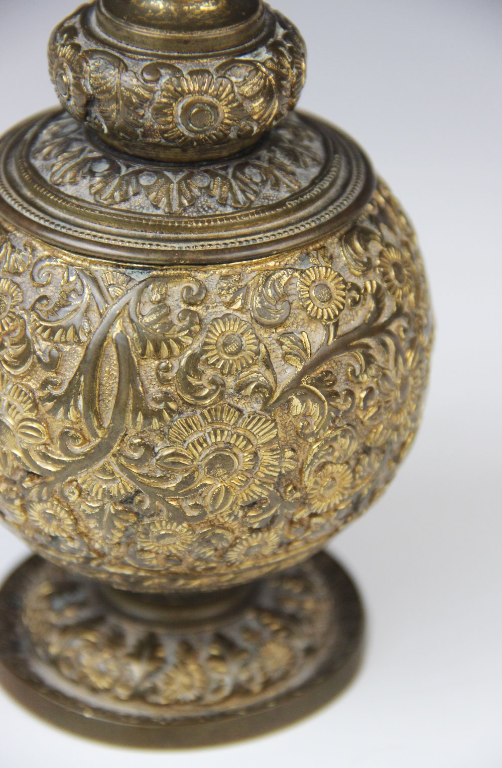 An Indian brass incense burner or censer, probably early or mid 20th century, of globe and - Image 2 of 4
