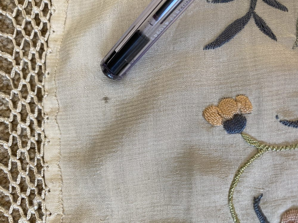 A Chinese polychrome florally decorated machine embroidered silk piano shawl, against a cream - Image 6 of 14