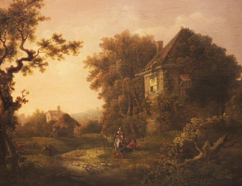Manner of Richard Wilson RA (1714-1782), Wooded rural landscape with figures beside a cottage, Oil