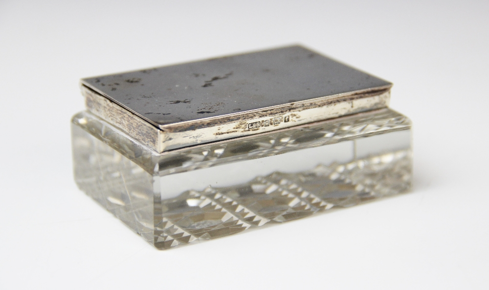 An Edwardian cut glass silver mounted stamp box by Levi & Salaman, Birmingham 1905, of rectangular - Image 3 of 3