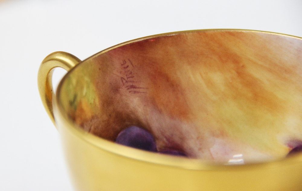 A Royal Worcester porcelain trio, mid 20th century, comprising a teacup, the interior hand painted - Image 4 of 9