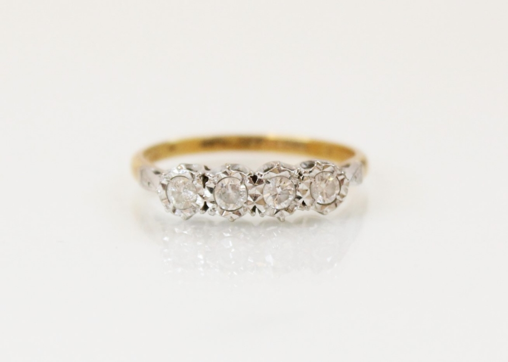 A diamond four-stone ring, comprising four round brilliant cut diamonds, (each weighing - Image 3 of 4