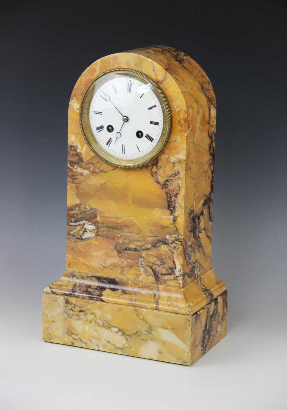 A late 19th century crema Valencia marble mantel clock, the domed case housing the 11cm white - Image 2 of 6