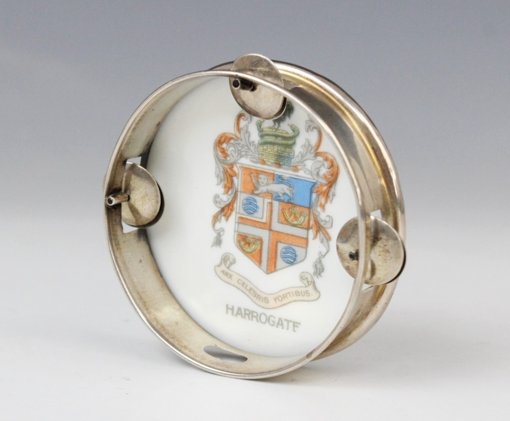 An Edwardian novelty miniature tambourine by William Hair Haseler, Birmingham 1907, of circular form - Image 3 of 3
