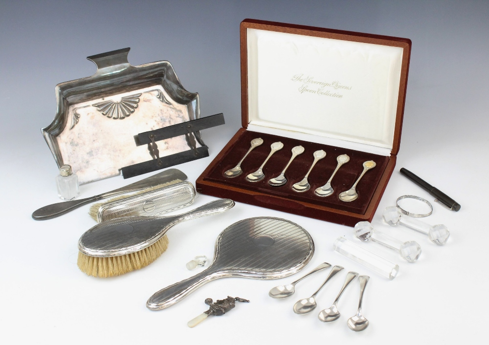 A selection of silver, silver plated and EPNS wares, to include; a George V silver Punch rattle, - Image 2 of 2