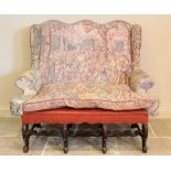 A 17th century Carolean style settee, 19th century and later, re-covered in fabric depicting 17th