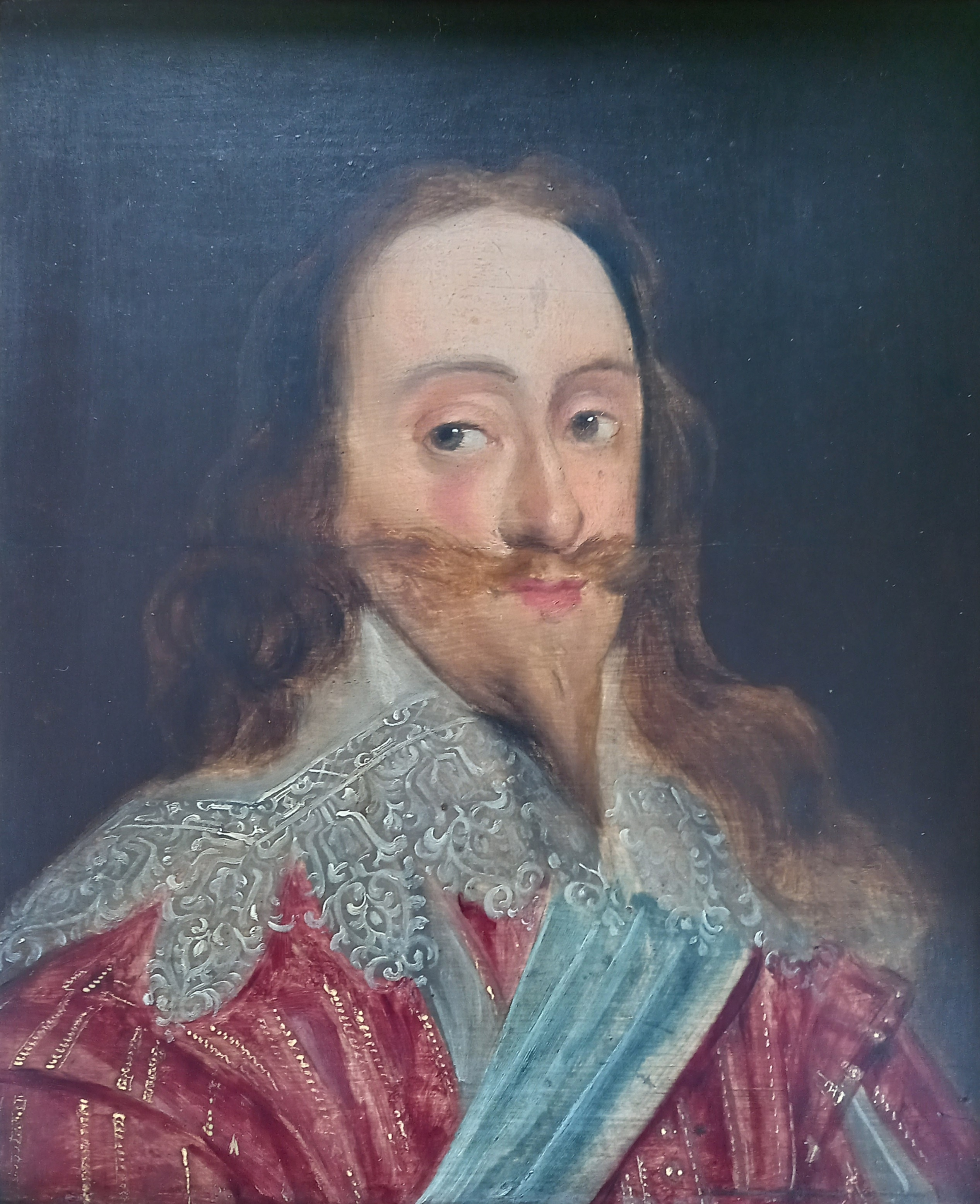 Manner of Daniel Mytens (1590-1647), Portrait of Charles I Head and shoulders wearing a lace - Image 4 of 10