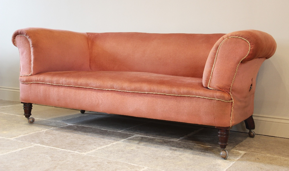 A late Victorian Chesterfield type drop end settee, upholstered in pink velour with applied - Image 2 of 2