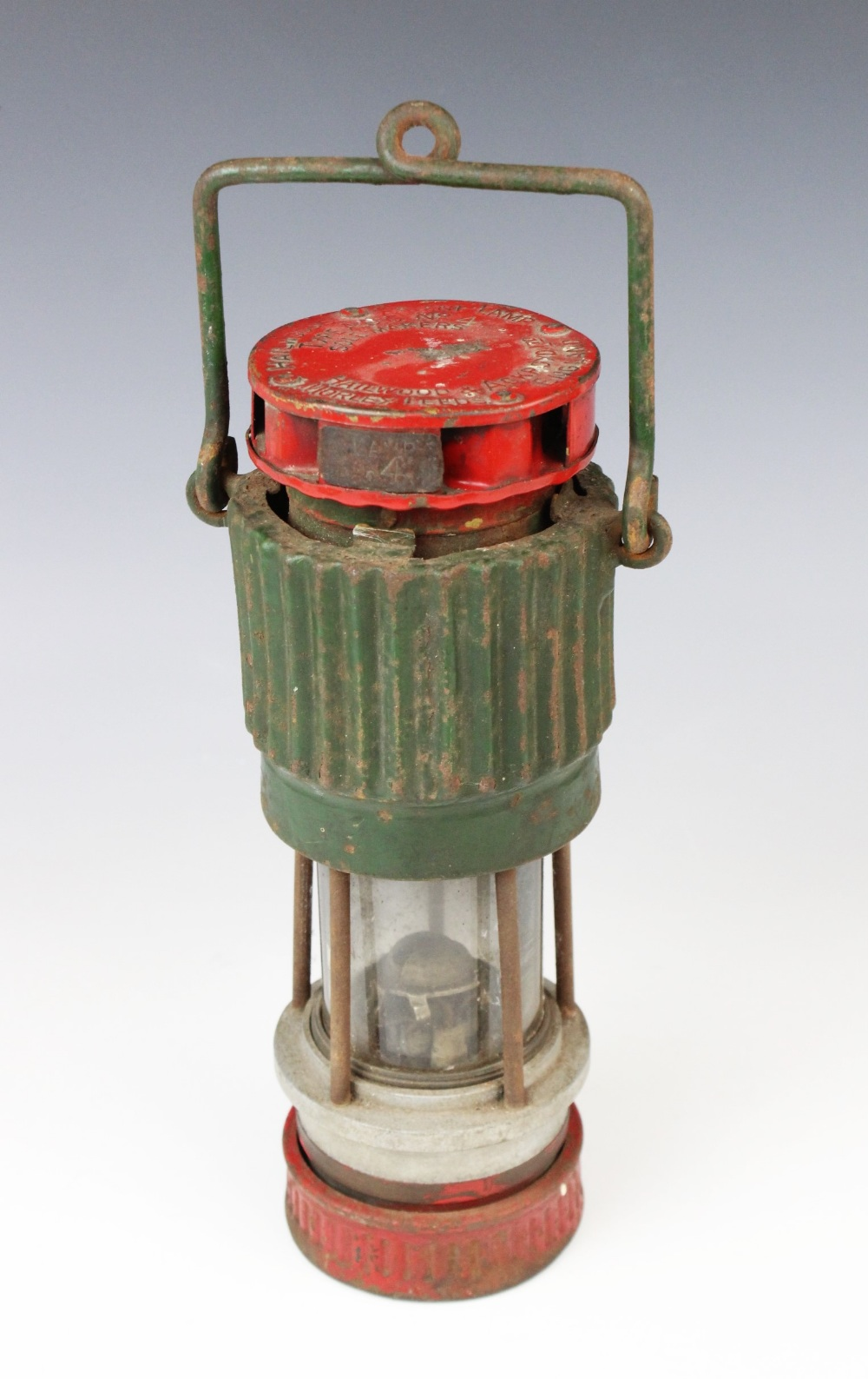 A vintage Hailwood's Patent miner's lamp 'Type ADC No 4', 20th century, red and green painted with
