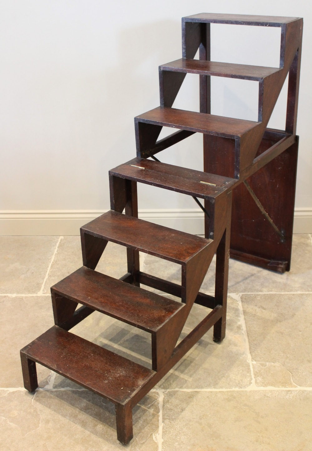 A 19th century mahogany metamorphic table/library steps, the rectangular moulded top on plain legs - Image 3 of 3