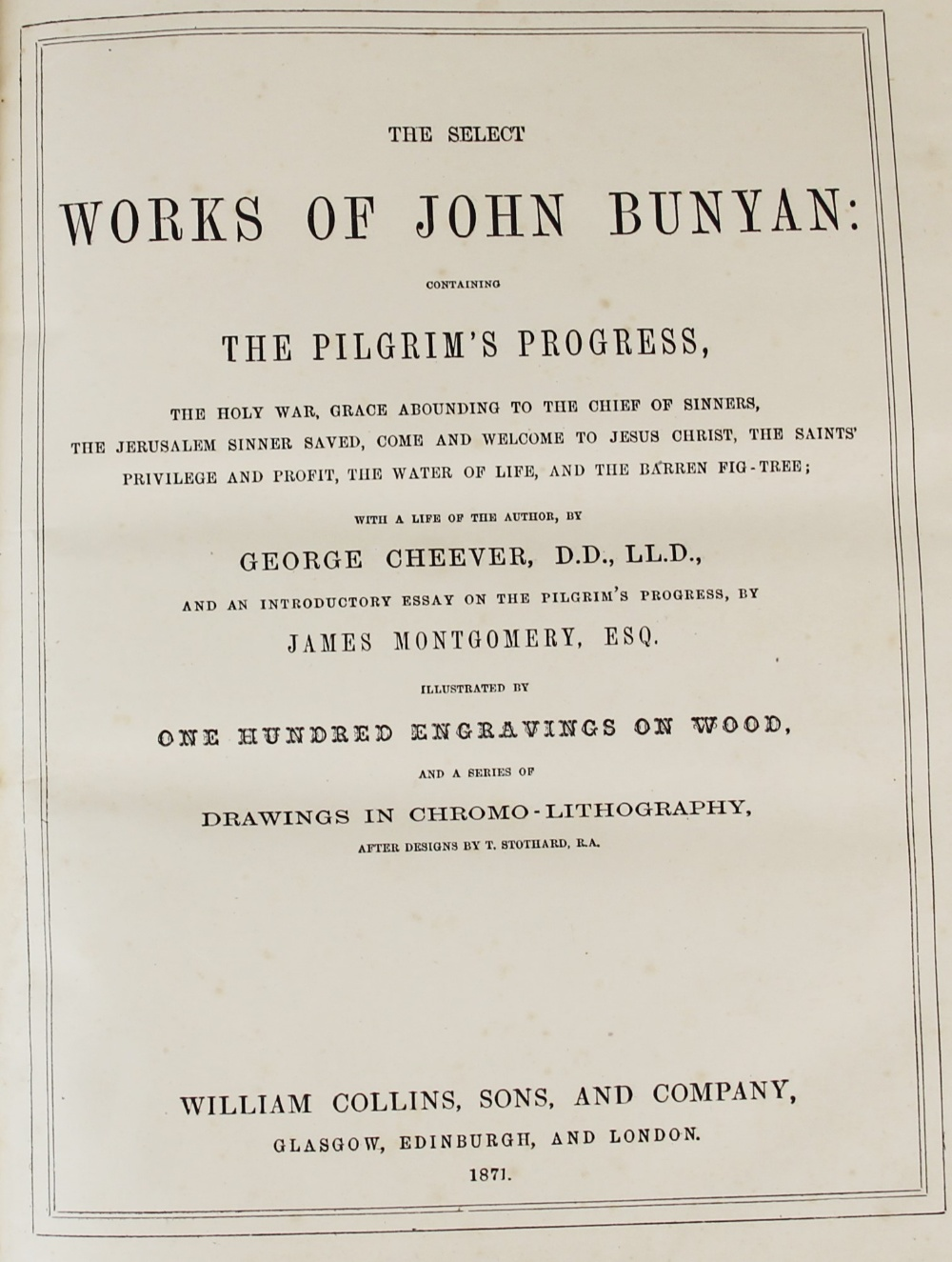 Bunyan (J), THE SELECT WORKS OF JOHN BUNYAN: WITH A LIFE OF THE AUTHOR BY GEORGE CHEEVER, first - Image 5 of 9