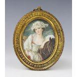After Jean-Baptiste Greuze (1750-1775), a watercolour portrait miniature on ivory after 'La