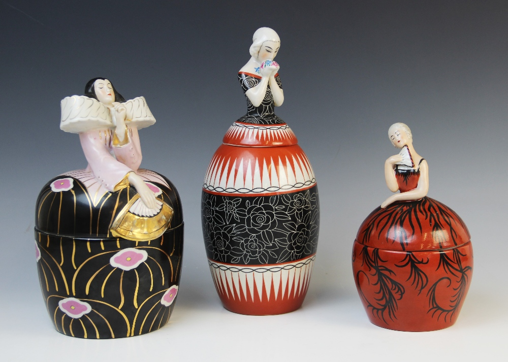 Three French Art Deco bonbonnieres or jars and covers by Robj, early 20th century, each modelled - Image 2 of 2