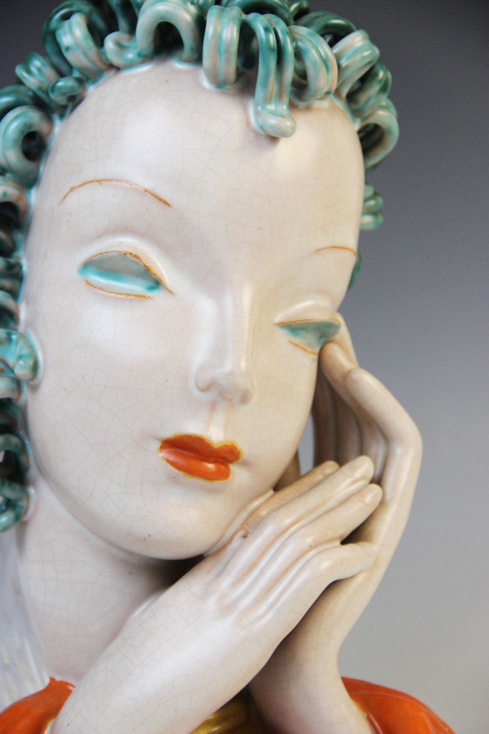 An Art Deco Goldscheider wall mask, early 20th century, modelled as a lady with blue curled hair and - Image 2 of 9