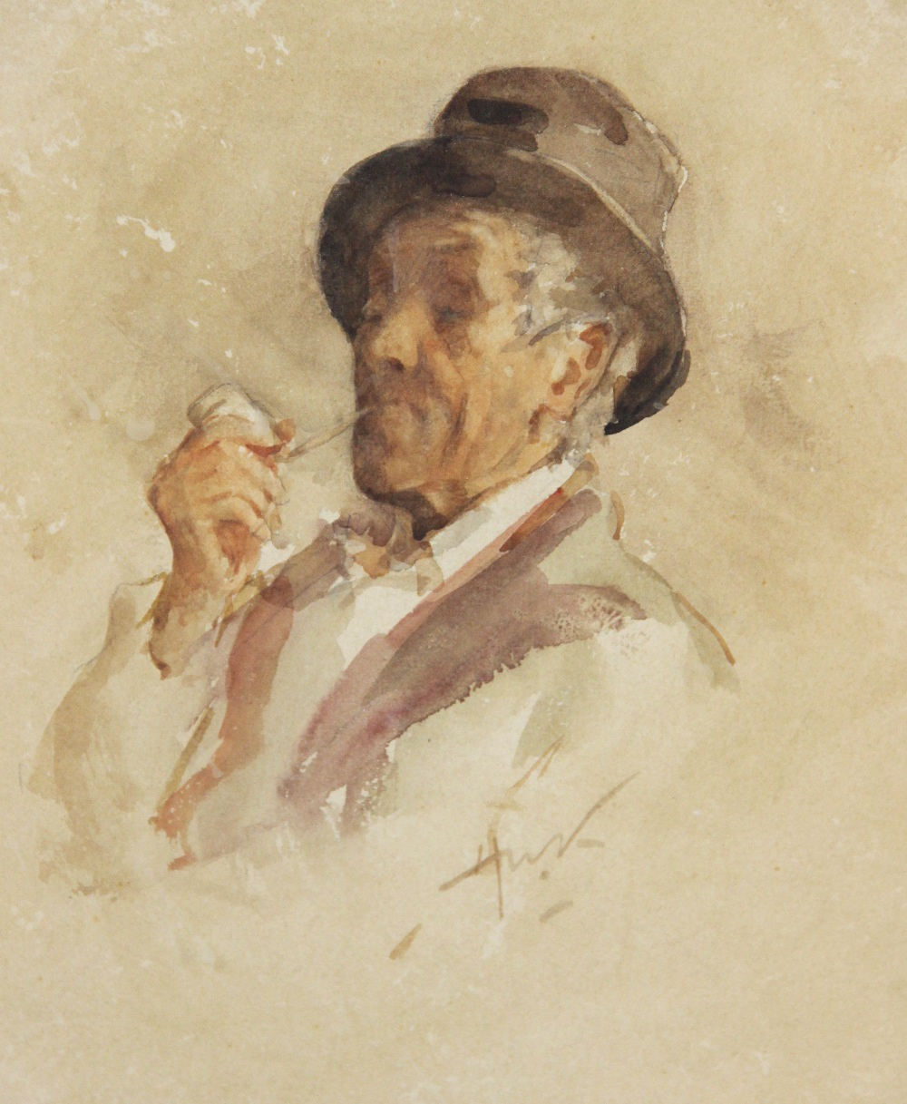 Henry Wright Kerr, R.S.A. R.S.W. (Scottish, 1857-1936), A man relaxing with a pipe, Watercolour on