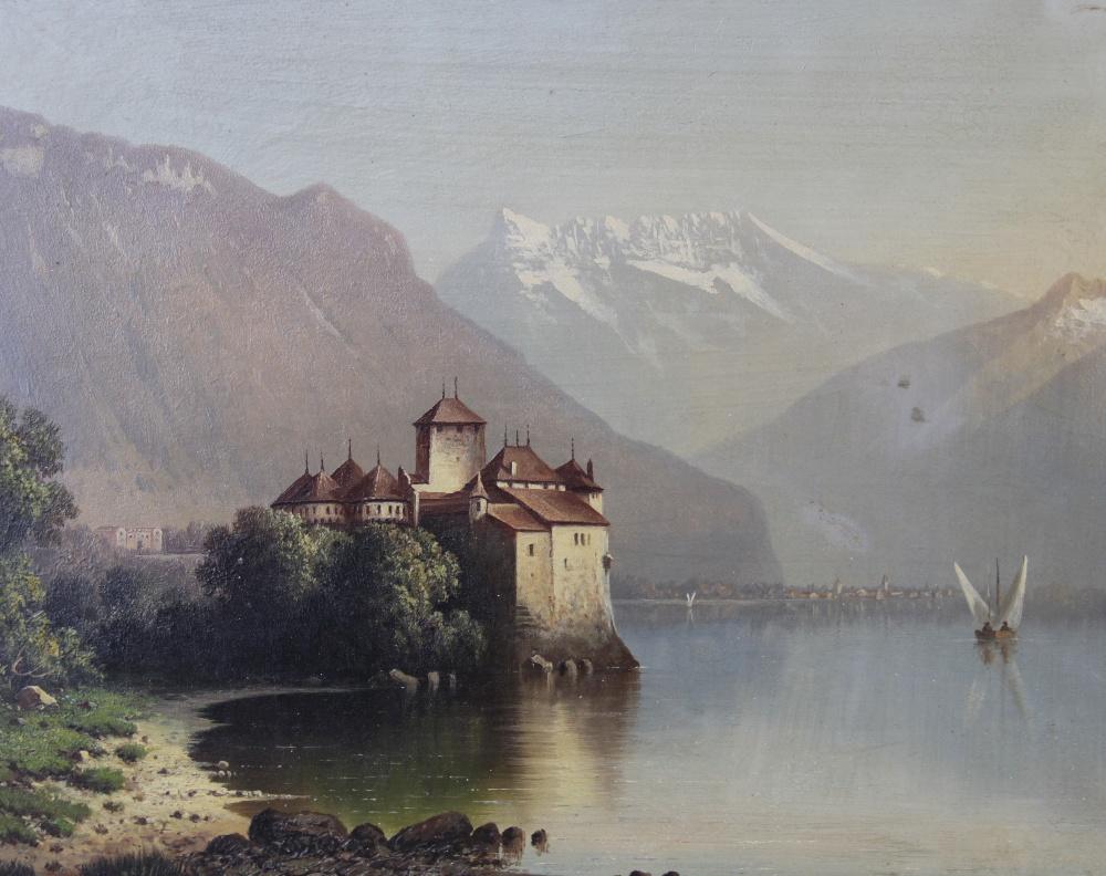 Italian School (late 19th century), Landscape views of Lombardy, Oil on board, 23cm x 29.5cm, Each