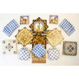A collection of ceramic tiles to include four Minton tiles in a pagoda design, ten French Felix