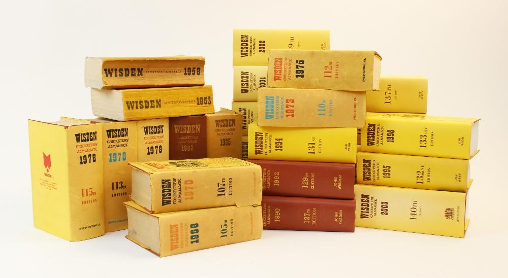Twenty six volumes of Wisden Cricketer's Almanack, comprising: 1953, 1958, 1968, 1970,1973, 1975,