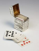 A late Victorian silver playing card box by Lawrence Emanuel, London 1899, of rectangular form