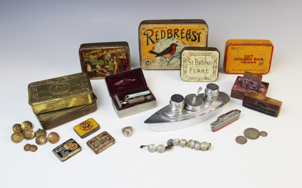 A World War I Princess Mary Christmas tin, containing a Hospital Re-direction Card for 11739 Sgt