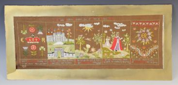 An Edwardian needlework sampler dated 1902, commemorating the coronation of Edward VIII, beaded