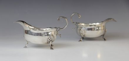 A pair of Victorian silver sauce boats by George Nathan & Ridley Hayes, Birmingham 1893-4, of oval