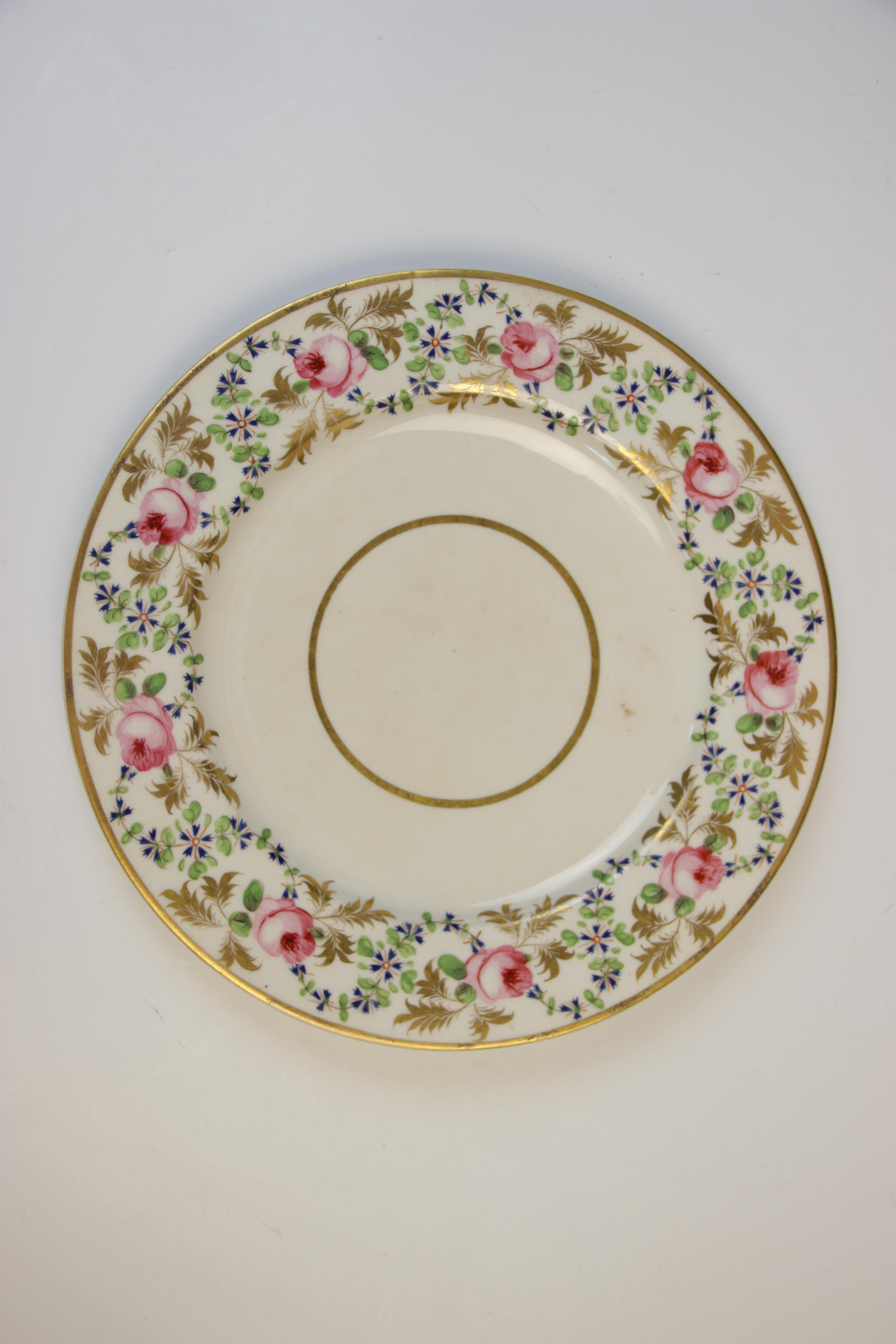 Fifteen Derby florally decorated plates, 19th century, each of circular form and decorated with - Image 6 of 11