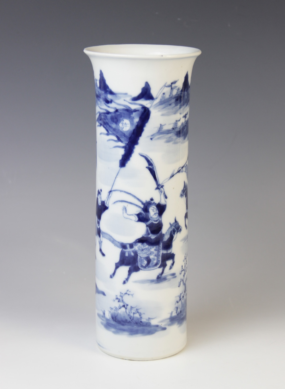 A Chinese porcelain blue and white sleeve vase, 19th century, of cylindrical form with flared rim,