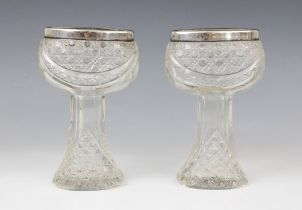 A pair of George V cut glass silver mounted posy vases, marks for London 1914 (maker's marks