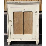 A Victorian painted pine food safe, the single door with replaced board panels, opening to two