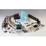 A quantity of antique, vintage and modern jewellery and jewellery boxes, to include a moonstone