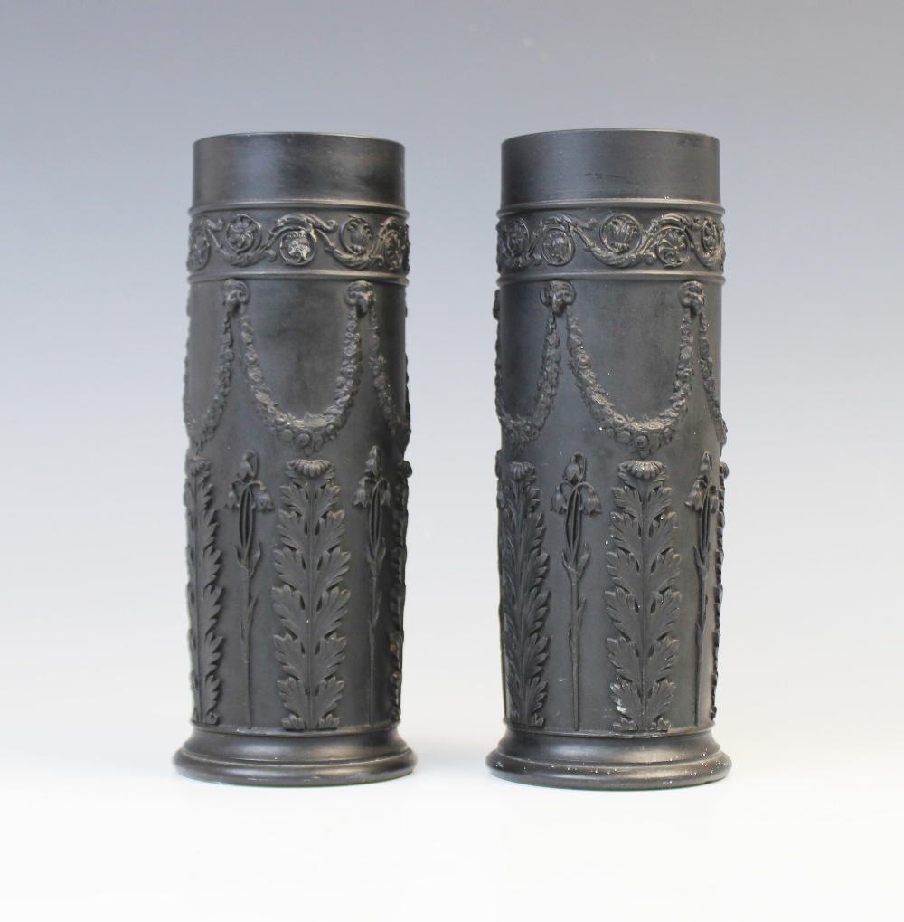 A pair of Wedgwood black basalt cylinder vases, early 20th century, the bodies extensively decorated - Image 2 of 3