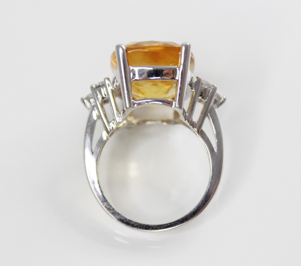 A citrine and diamond 18ct gold ring, the central rectangular mixed cut citrine (measuring 18mm L - Image 3 of 3