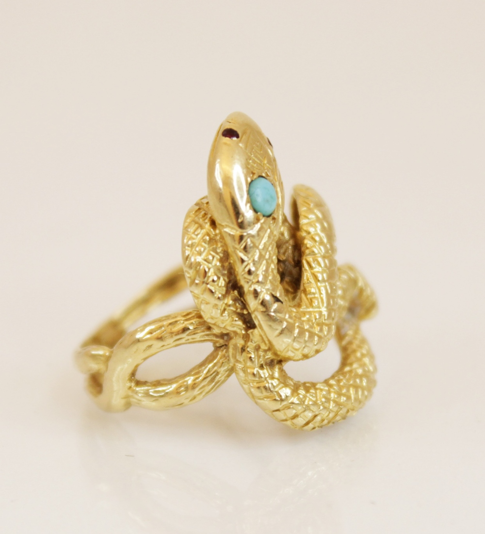 A continental 18ct gold turquoise and ruby set snake ring, the coiled body with engraved decoration, - Image 2 of 4