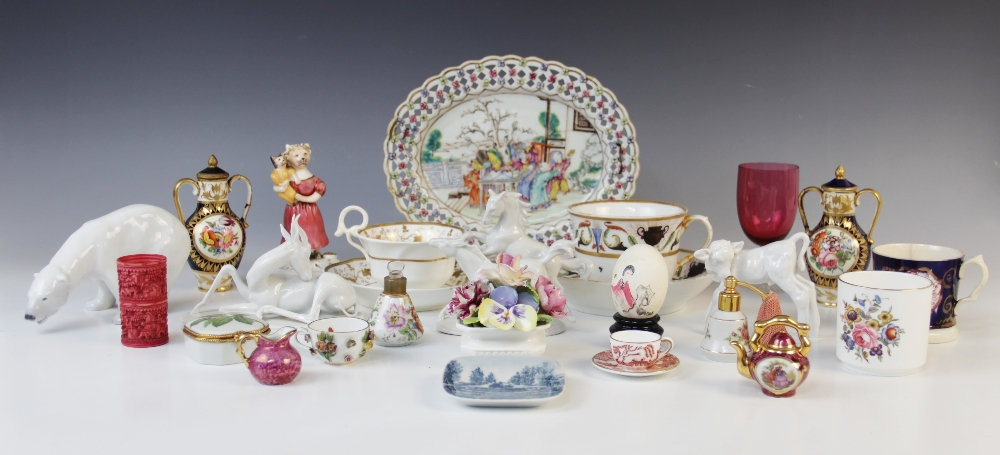 A selection of British and continental porcelain, 19th century and later, to include a Staffordshire - Image 2 of 2