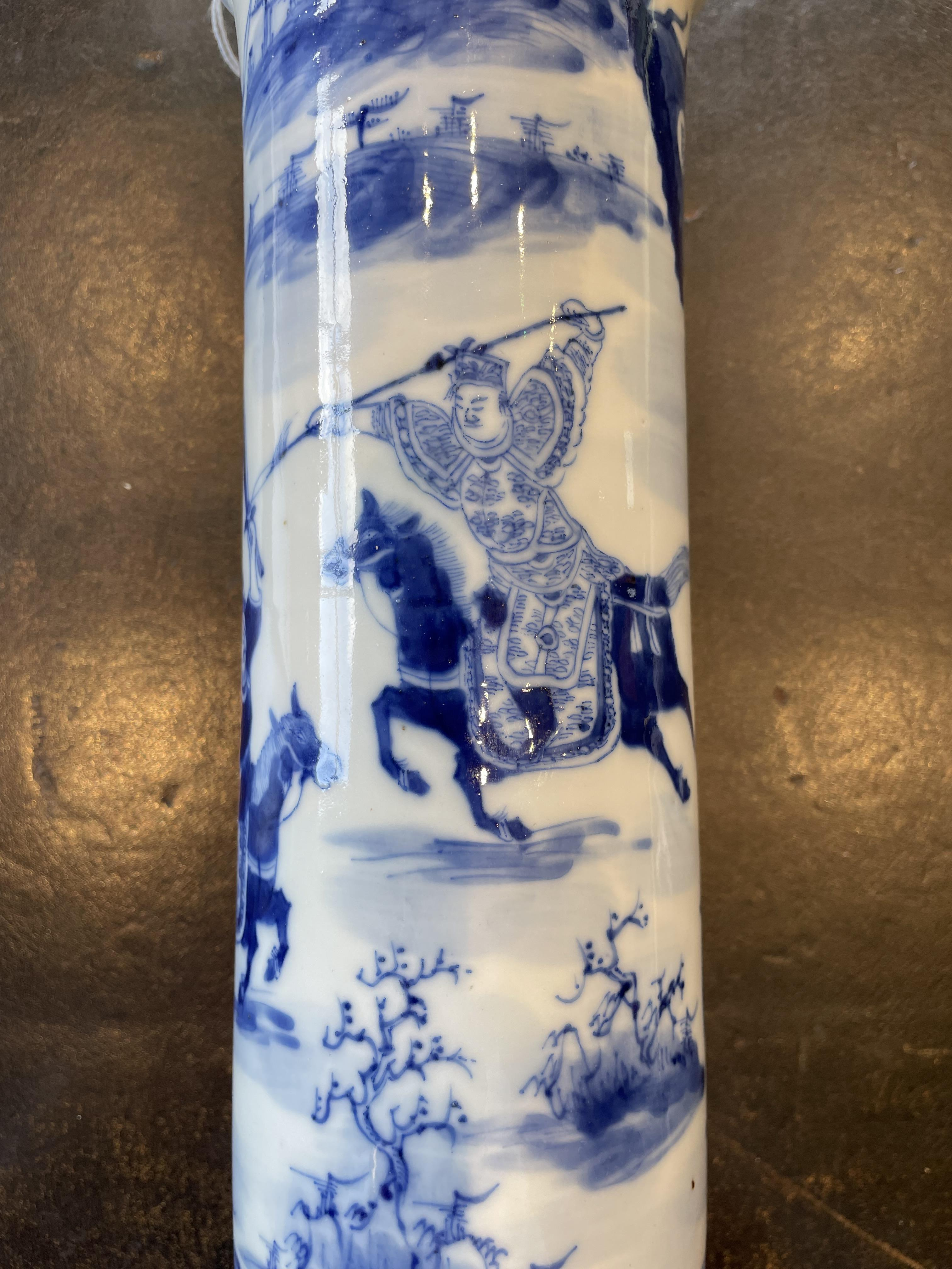 A Chinese porcelain blue and white sleeve vase, 19th century, of cylindrical form with flared rim, - Image 7 of 9