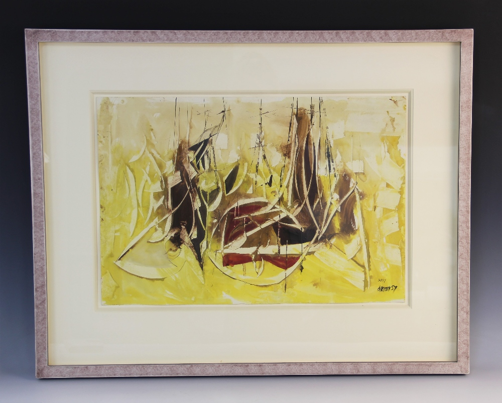 Roy Turner Durrant (English, 1925?1998), Untitled abstract in yellow, ochre and red, Gouache on - Image 2 of 5