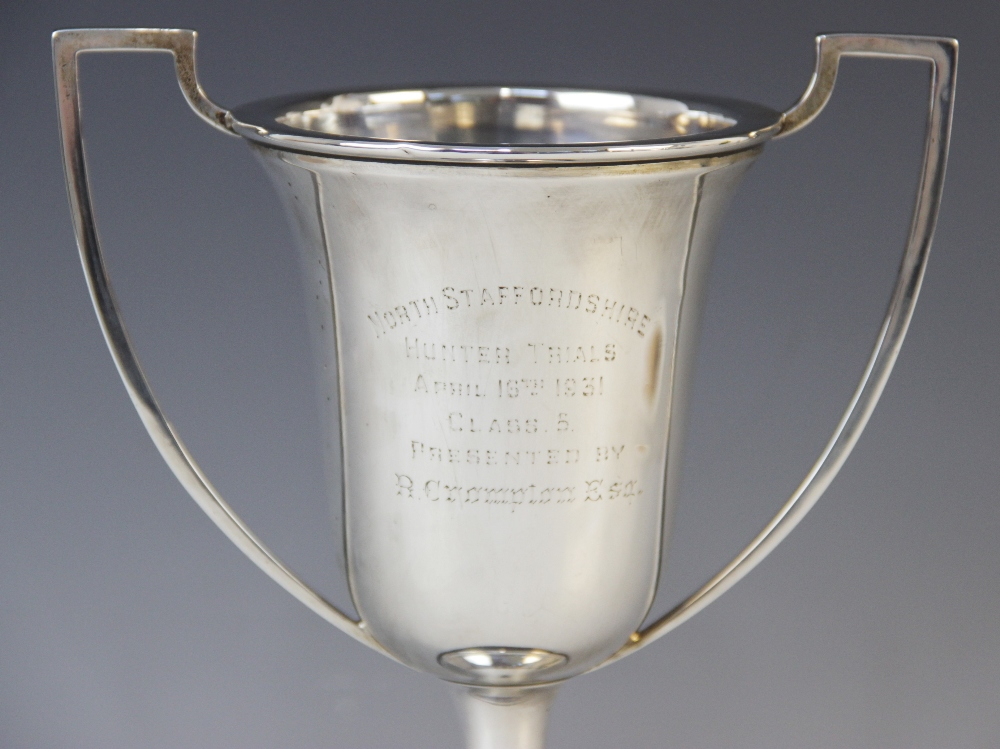 A George V silver twin-handled trophy cup by Alexander Clark & Co Ltd, Birmingham 1930, the bell - Image 2 of 2