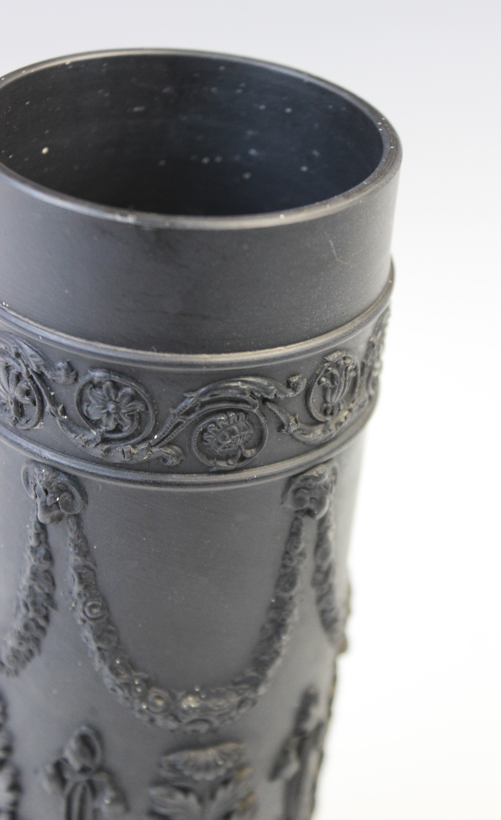A pair of Wedgwood black basalt cylinder vases, early 20th century, the bodies extensively decorated - Image 3 of 3