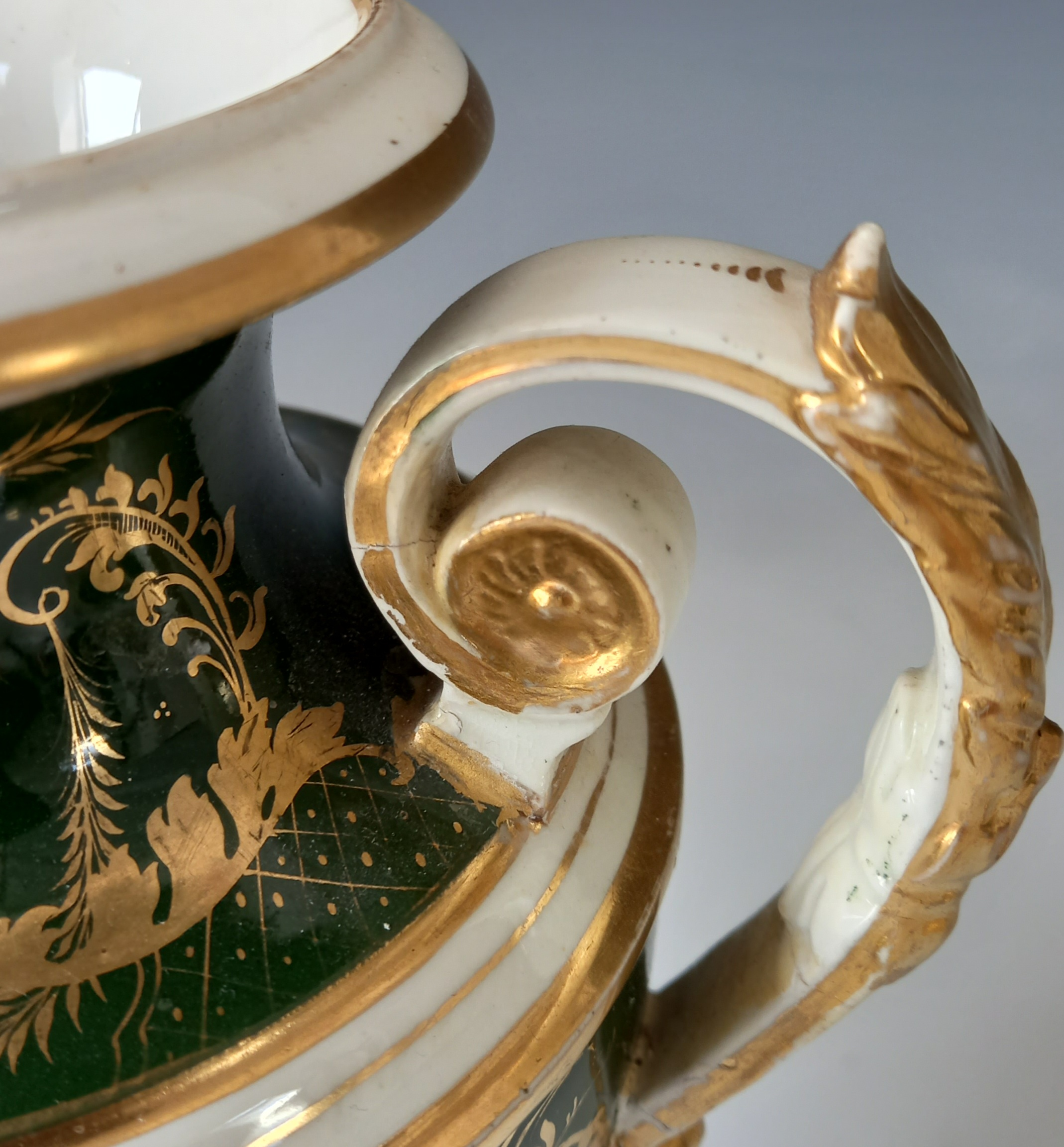 A pair of campana urns in the manner of Bloor Derby, 19th century, each decorated with a panel - Image 6 of 11